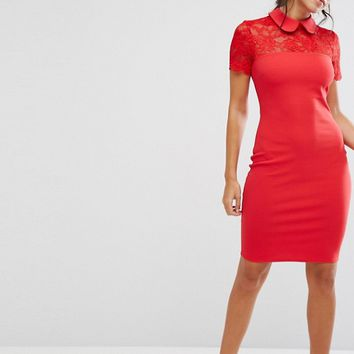 City Goddess Collared Pencil Dress With Lace Yoke at asos.com