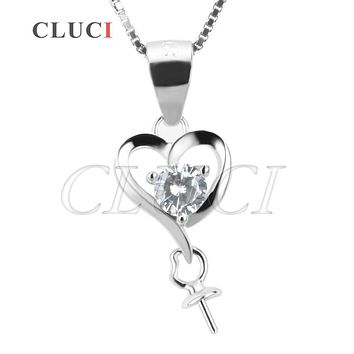 CLUCI women jewelry Heart Shape 925 sterling silver necklace pearl pendant accessories, can stick pearl on