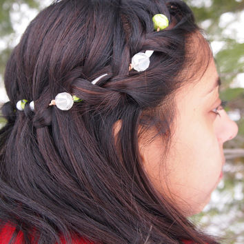 Braided Headband, SHORT Brown Hair, Bridal Headband, Flower Headband, Green Clip In Braid, Beaded Leather, Hair Accessories,