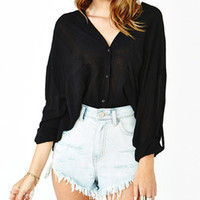 Black Batwing Long Sleeve Chiffon Top