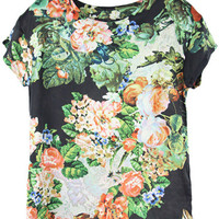 ROMWE | Floral Print Black T-Shirt, The Latest Street Fashion