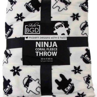 Studio BGD Ninja Coral Soft Warm Fleece Throw Cover Blanket Black White 50x60in