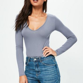 Missguided - Blue Long Sleeve V Neck Bodysuit