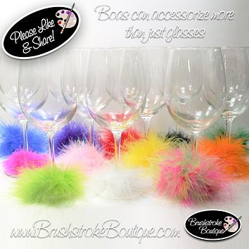 Accessorize Your Wine Glass with Mini Feather Boa Wine Markers - Choose Your Color to Coordinate with Your Painted Wine Glass