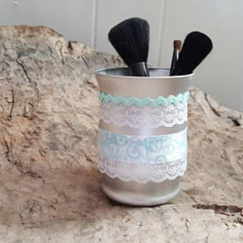 Makeup Brush Holder, Handmade, Luxury Decor, Vintage Jar, Makeup Collection, Dorm Room Decor, Vanity Makeup Holder, Cosmetics Organizer