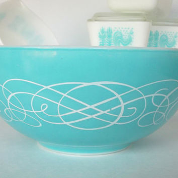 Pyrex Turquoise Scroll Bowl- 1959 Promotional - Rare Cinderella #443