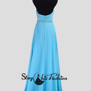 Blue Long Crisscross Beading Bust Strapless Dress with Slit Leg