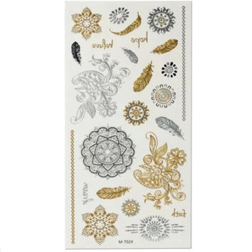 Flower Circle Gold Silver Metallic Temporary Tattoos Sticker Decal Body Art