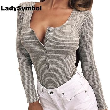 LadySymbol 2017 Winter Cotton Knitted Sexy Bodysuit Women Long Sleeve Stripes Leotard Bodycon Playsuit Female Jumpsuit Rompers