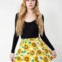 Sunflower Print StretchBull Denim Circle Skirt