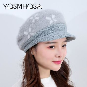 Fashion Warm Knitted Hat Rabbit Fur Beret Winter Hats for Women Girls Hat Flowers Caps Lady Outdoor Beanies Floral WH001