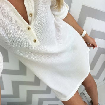 Plain Color V-Neck Sweater Dress