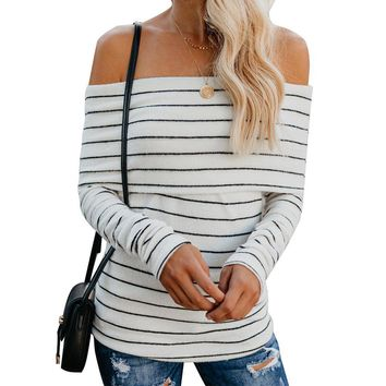 Off the Shoulder Stripe Women Slim Pullover Sweater