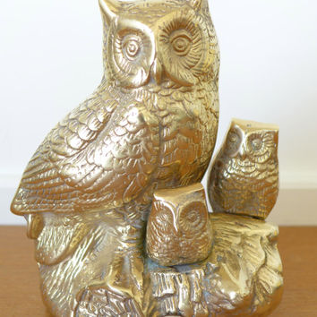 Large brass owl sculpture