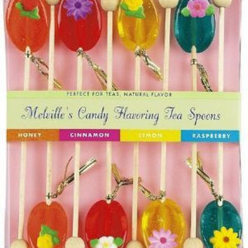 8 Pack of Flowers Honey Tea Spoons in Assorted Flavors