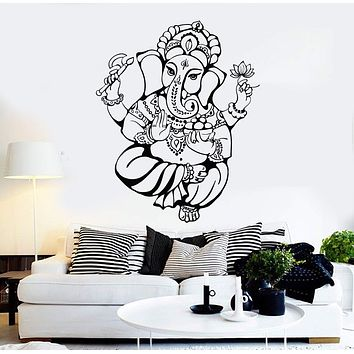 Vinyl Wall Decal Ganesha God Hindu India Religion Stickers Unique Gift (ig4488)