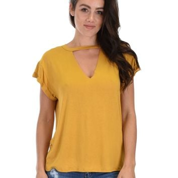 Lyss Loo Unfiltered Raw Edge V-neck Mustard Tunic Top