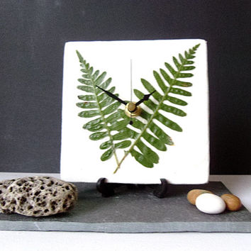Unique Desk Clock Small Wall Clock - Decoupage Mulberry Paper and Dry Pressed Real Fern Green Leaves Botanical Clock