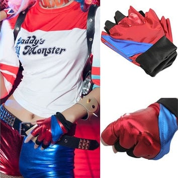 1pcs Batman DC Comic Suicide Squad Harley Quinn Joker Costume Party Cosplay Glove (Color: Blue) [9221643268]