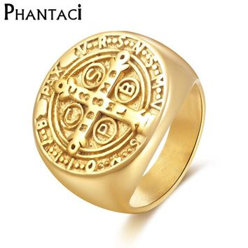Phantaci Big Vintage Pattern 316L Stainless Steel Men Ring Gold Color High Quality Cross Male Retro Punk Ring Jewelry