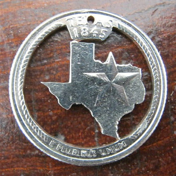Texas State Quarter, hand cut coin