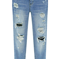 Bleached Cuffed Ripped Denim Pant
