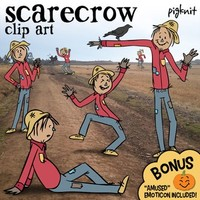 Scarecrow Clip Art, Plus BONUS Pumpkin Emoji! | Fall Harvest, Garden, Farm, Crow
