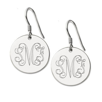 Personalized Round Monogram Earrings Silver Engraved Monogrammed   Initials Earrings 3 Letter Nameplate Earring
