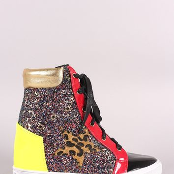 Glitter Encrusted Lace-Up High Top Colorblock Wedge Sneaker