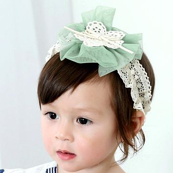 Newborn Infant Baby Girls Gauze Flower Bow-knot Headbands Infant Children Hair Accessories Lace Head wear