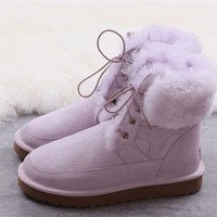 UGG High Quality winter women's lacing boots purple shoes DCCK
