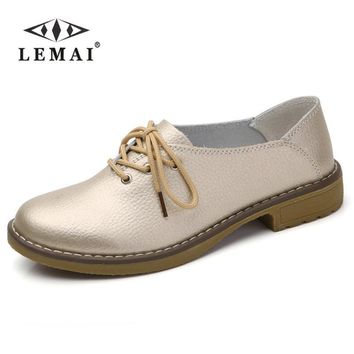 LEMAI 2017 Genuine Leather Flats Shoes, Women Oxford, Fashion Women Casual Moccasins L