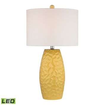 D2500-LED Sunshine Yellow Ceramic LED Table Lamp With White Linen Shade