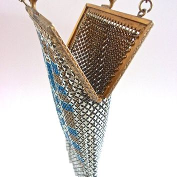 Art Deco Mesh MANDALIAN Enameled Purse, Blue White Gold, Geometric Design, Antique