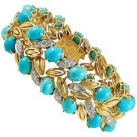 Cartier Diamond and Cabochon Turquoise Bracelet