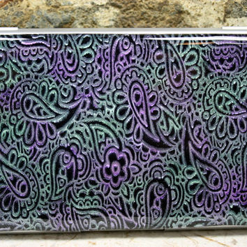 Business card case, Polymer clay covered Business card holder, paisley design, mica powder enhanced