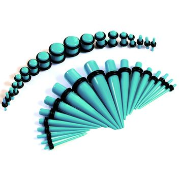 BodyJ4You Gauges Kit 18 Pairs Turquoise Acrylic Tapers & Plugs 14G 12G 10G 8G 6G 4G 2G 0G 00G 36 Pieces
