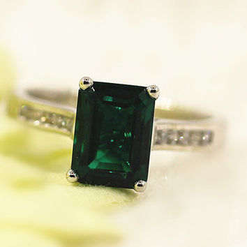 Elegant Colored Stone Ring Emerald Solitaire Ring Emerald Engagement Ring in 14K White Gold