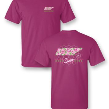 Sassy Frass Home Sweet Home Tennessee TN State Design Girlie Bright T Shirt