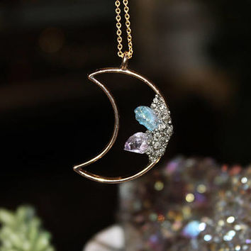 Crystal Moon Necklace, Aura Crystal Necklace, Crushed Pyrite Jewelry, Crescent Moon Jewelry, Wiccan Jewelry Pagan Necklace, Celestial Galaxy
