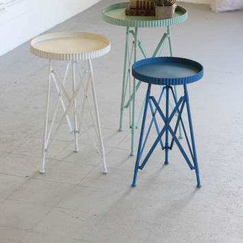 Set of 3 Round Metal Tray Tables- One Each Color