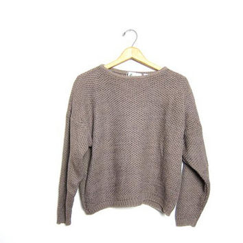 Cropped Loose Knit Sweater Slouchy Taupe Pullover Beige Long Sleeve Knit Shirt Crop Top Basic Minimal Boho Prep Light Brown Slouch Small