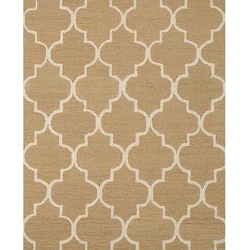 EORC Hand-tufted Wool Light Gold Traditional Trellis Moroccan Rug