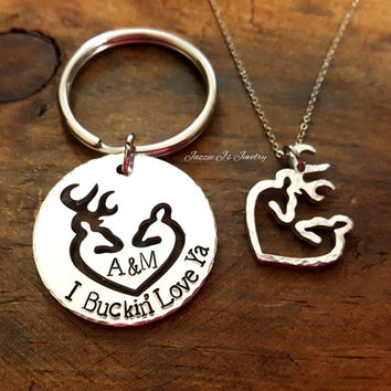 I Buckin' Love Ya Keychain and Buck/Doe Heart Necklace, Personalized Her Buck His Doe Gift Set, Deer Heart Keychain, Country Couple Gift Set