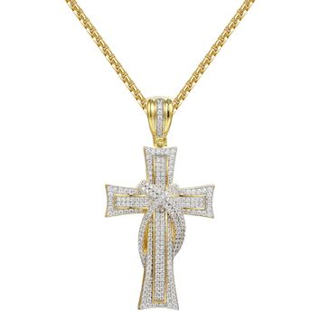 Designer Christian Cross Ribbon Iced Out Pendant
