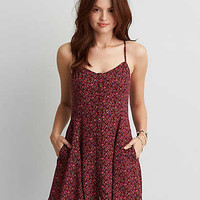 AEO BUTTON FRONT FIT & FLARE DRESS
