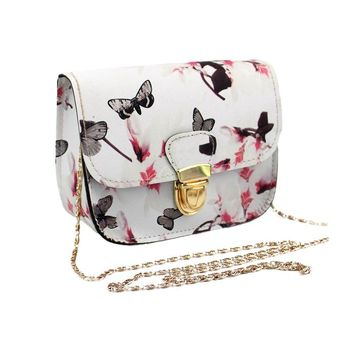 Women Butterfly Flower Printing Pu Leather Shoulder Crossbody Bag Messenger female Bag Lovely bag as elegant gift for girl F22