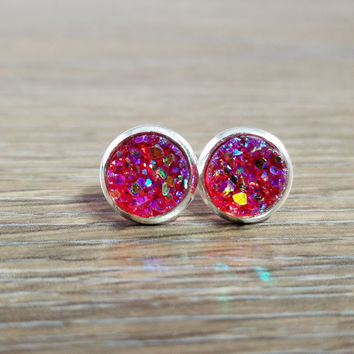 Tiny Druzy earrings- Red drusy silver tone stud druzy earrings