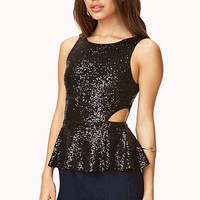 FOREVER 21 Dazzling Peplum Top Black Small