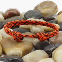 Paracord Bracelet in Orange Camo Minimalist Design